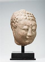 A LARGE HEAD OF A BUDDHA