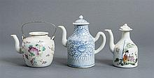 GROUP OF THREE PORCELAIN TEA POTS