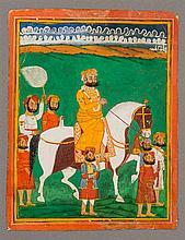 MAHARAJA ON HORSEBACK WITH SERVANTS