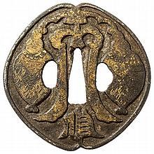 TSUBA WITH A DECORATIVE HIGH RELIEF