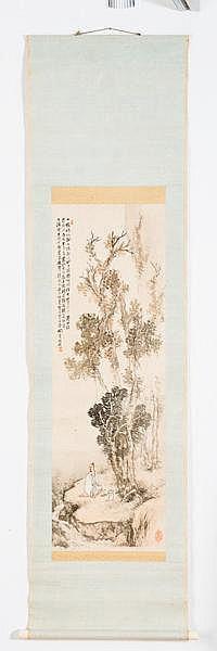 HASHIMOTO KANSETSU (1883-1945): MAN SEATED AT A MOUNTAIN CREEK