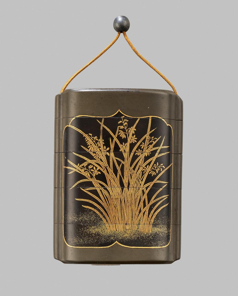 A FINE FOUR-CASE LACQUER INRO WITH LILIES, EX TOMKINSON COLLECTION