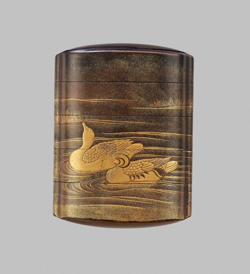 A FINE GOLD LACQUER FOUR-CASE INRO WITH DUCKS