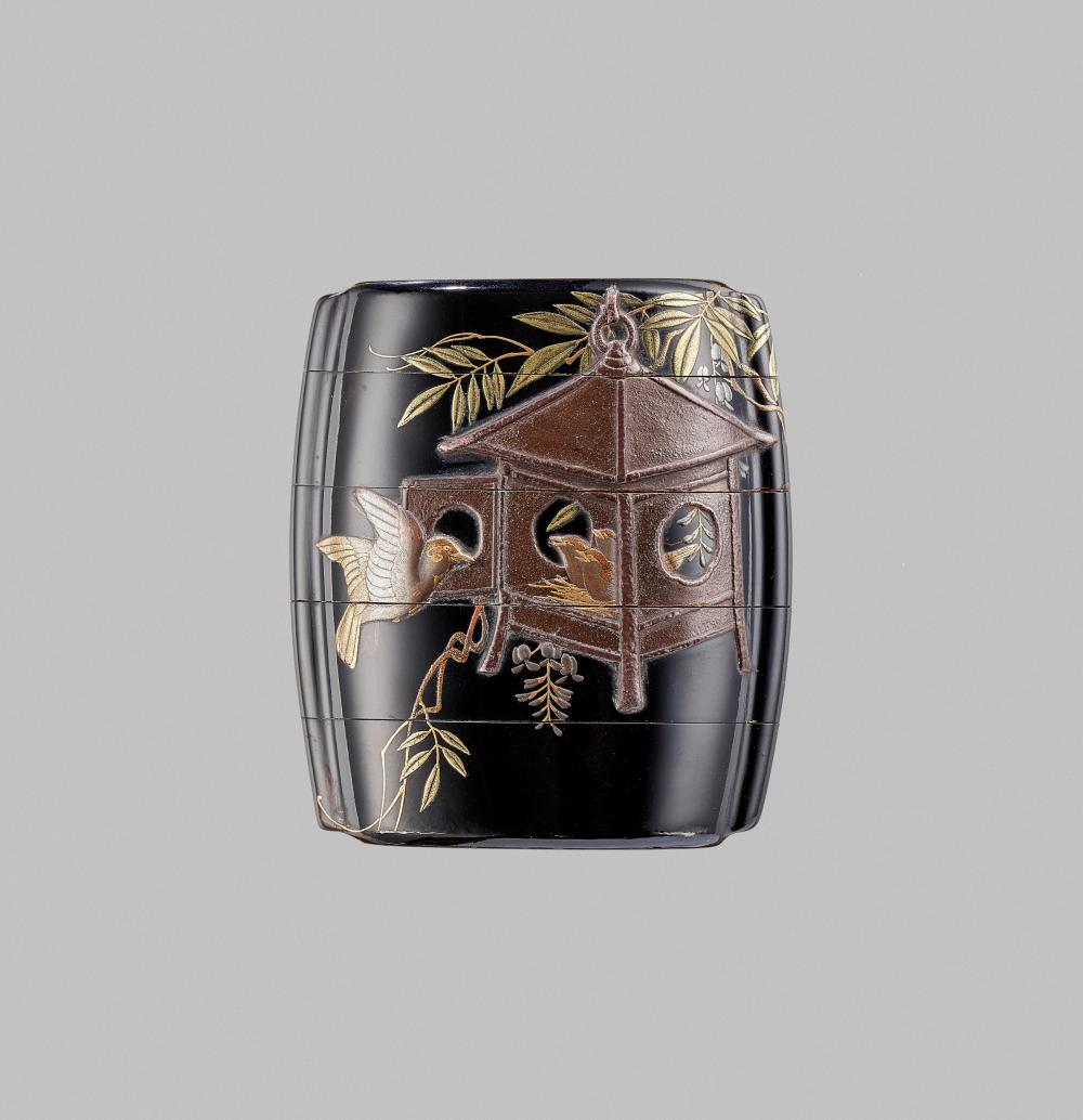 ZESHIN: A FINE LACQUER FOUR-CASE INRO WITH SPARROWS