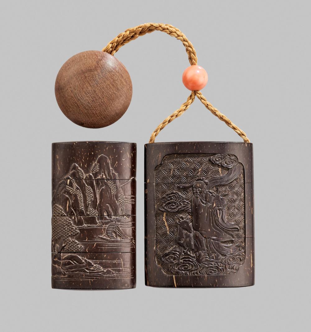 MORIMITSU: A VERY RARE COCONUT SHELL THREE-CASE SAYA INRO WITH IMMORTALS