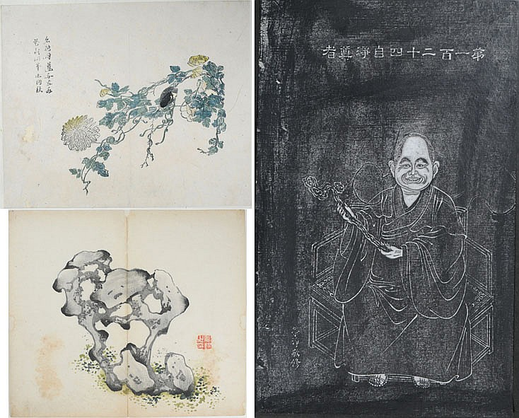 THREE ORIGINAL WOODBLOCK PRINTS. TWO SHEETS FROM