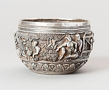 A SILVER EMBOSSED VESSELWITH FIGURAL RELIEF