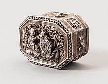 A FINE SILVER REPOUSSÉ BOX AND COVERDEPICTING NOBLES AND ANIMALS