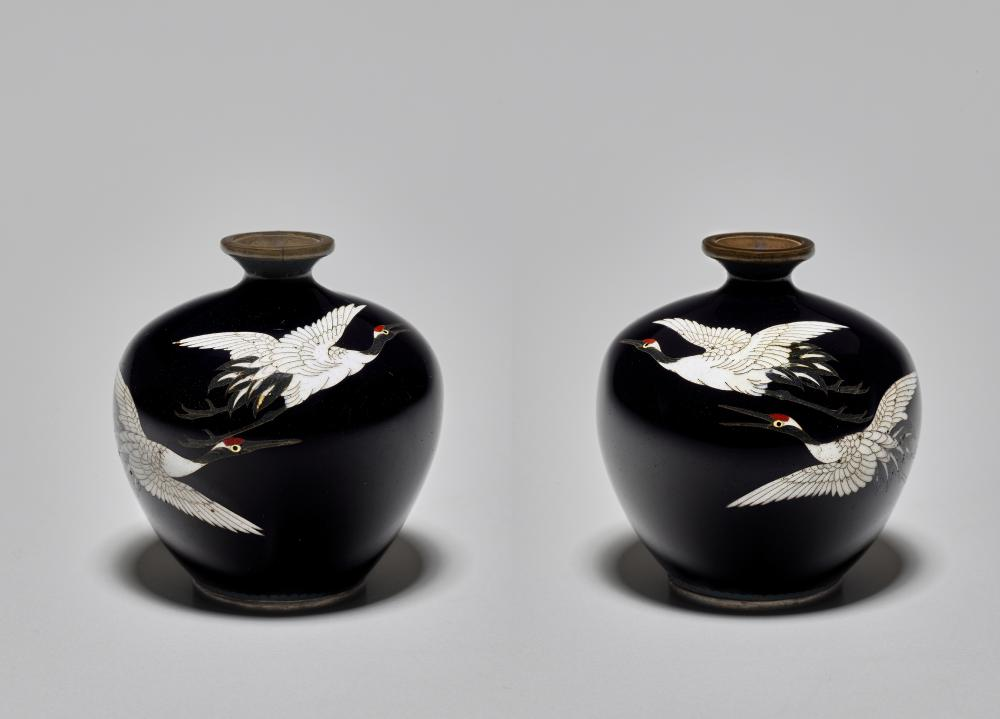 PAIR OF CLOISONNÉ VASES WITH CRANES