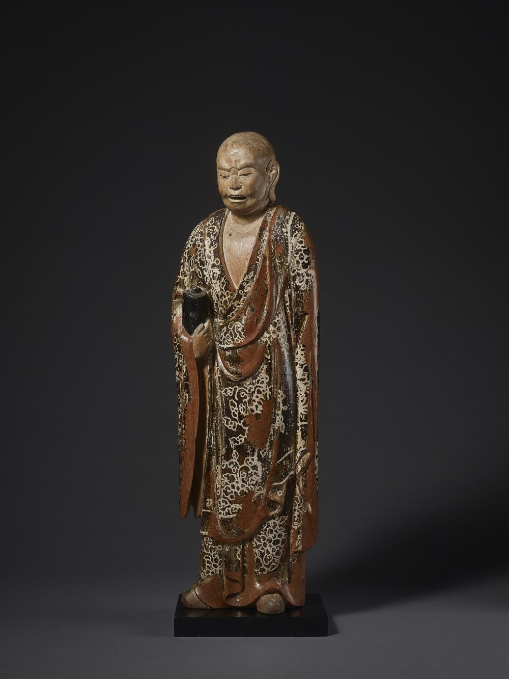 A LARGE LACQUERED WOOD ZEN MONK