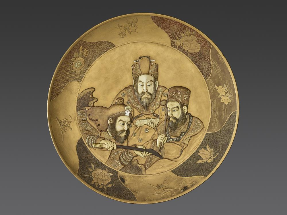 AN IMPORTANT LACQUER AND SHIBAYAMA PLATE, MEIJI