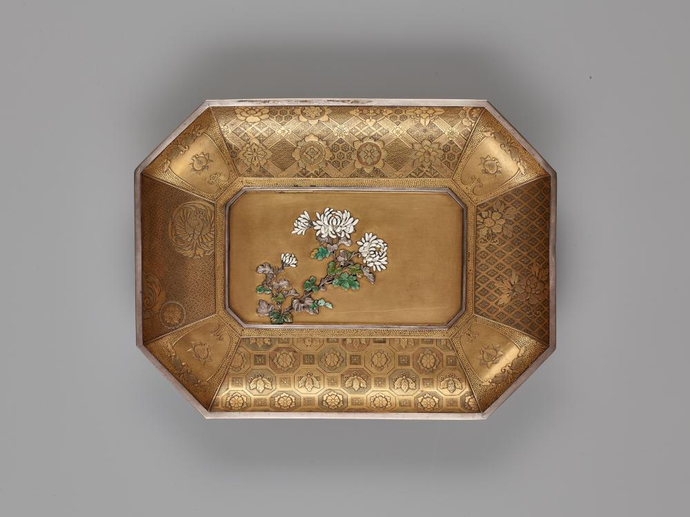AN INLAID ENAMEL & LACQUER TRAY