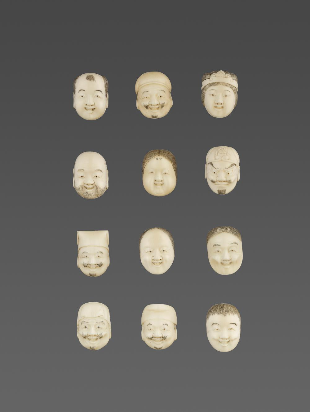 A LOT WITH TWELVE IVORY NOH MASKS