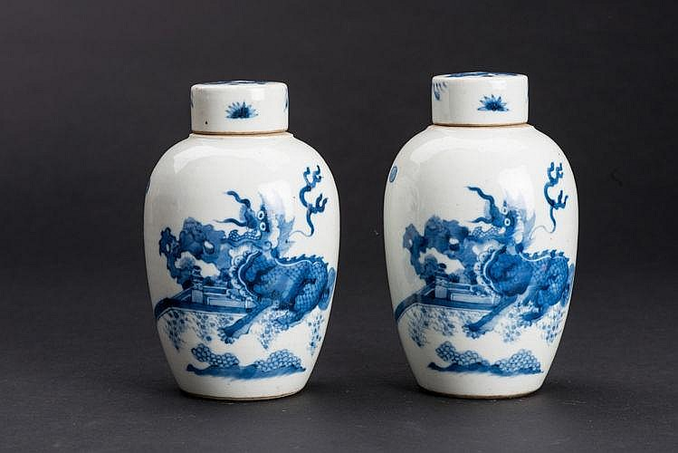 TWO GINGER JARS WITH MYTHICAL ANIMAL