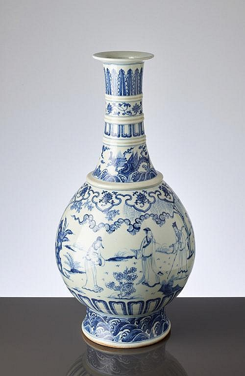 LARGE VASE WITH GARDEN SCENE AND DRAGON