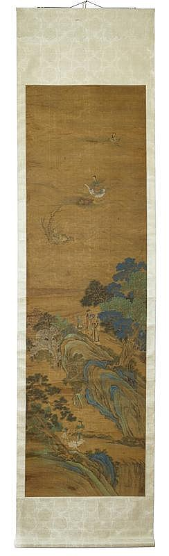 LARGE PICTURE SCROLL WITH ROCKY LANDSCAPE, OCEAN AND IMMORTAL