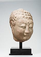 A LARGE HEAD OF A BUDDHA
