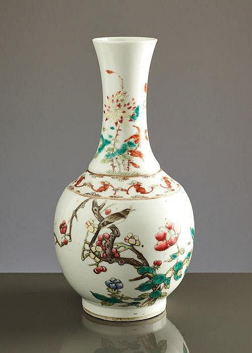 VASE WITH BLOSSOMS, BIRD, BATS