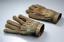 RARE PAIR OF GLOVES FROM A TOMB WITH PHOENIX