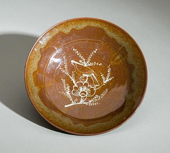 PLATE WITH FLORAL DECOR AND BIRD