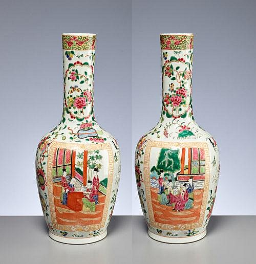 PAIR OF VASES WITH COURT SCENES