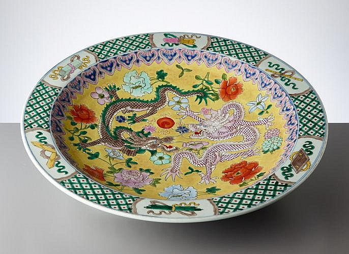 LARGE PLATE WITH DRAGON PAIR