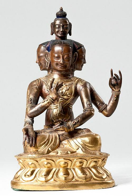 THREE-HEADED BODHISATTVA WITH BUDDHA HEAD