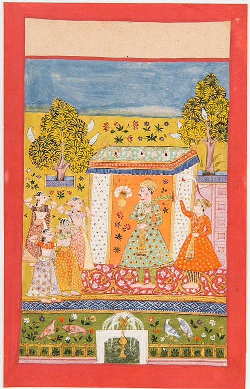 MAHARAJA IN A GARDEN PAVILION WITH DANCERS