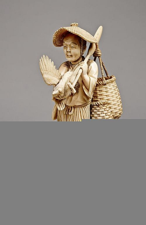 KOGETSU: FISHER WITH BASKETS AND A BIRD IN THE HAND
