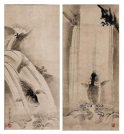 KANO TANSHIN (1785 - 1835): CARPS IN A WATERFALL
