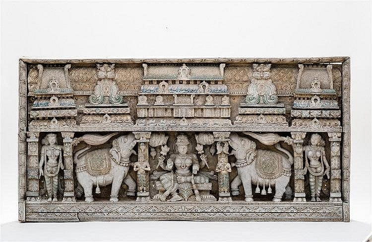 RARE LARGE MULTIFIGURED RELIEF WITH DEITIES AND LIONS