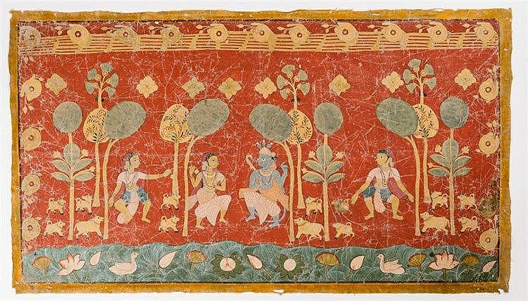 TEMPLE PAINTING WITH KRISHNA AND GOPIS