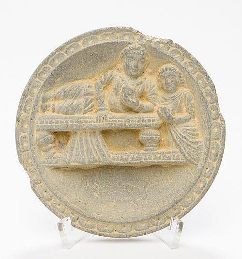 MAKE-UP BOWL DEPICTING A RECLINING WOMAN AND SERVANT