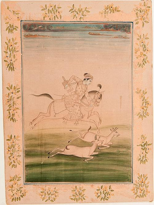 PRINCE HUNTING ON HORSEBACK -CLASSIC MUGHAL STYLE