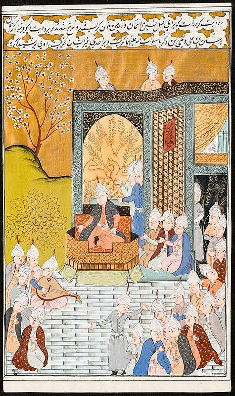 MAHARAJA ON A THRONE AND ENTOURAGE