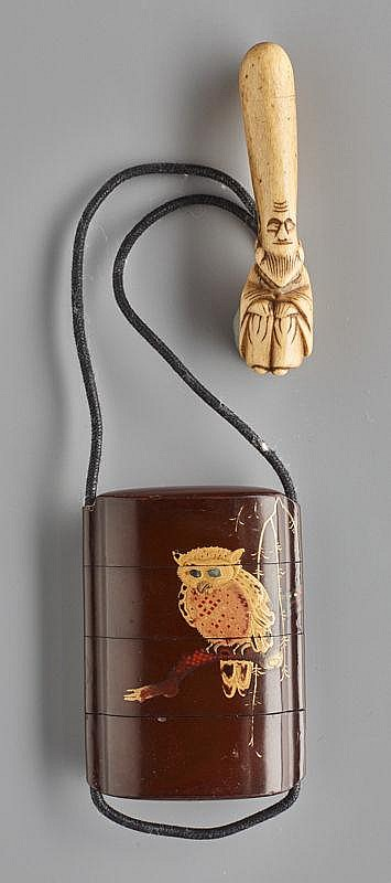 INRO WITH OWL AND NETSUKE WITH GOD OF LONG LIFE
