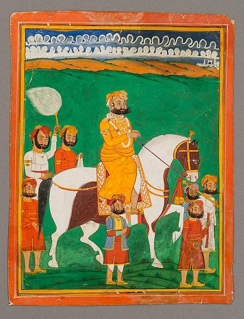 MAHARAJA ON HORSEBACK WITH SERVANTS