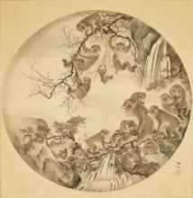 MORI SOSEN: A LARGE AND IMPRESSIVE SCROLL PAINTING OF MONKEYS BY A WATERFALL