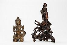 GROUP OF WOOD CARVED ADORANTS AND SHOULAO