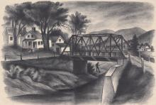 Isaac J. Sanger Lithograph [WPA, Wentworth Bridge, NH]