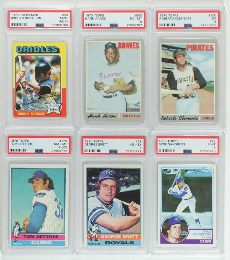 Six Vintage Graded Topps Baseball Cards