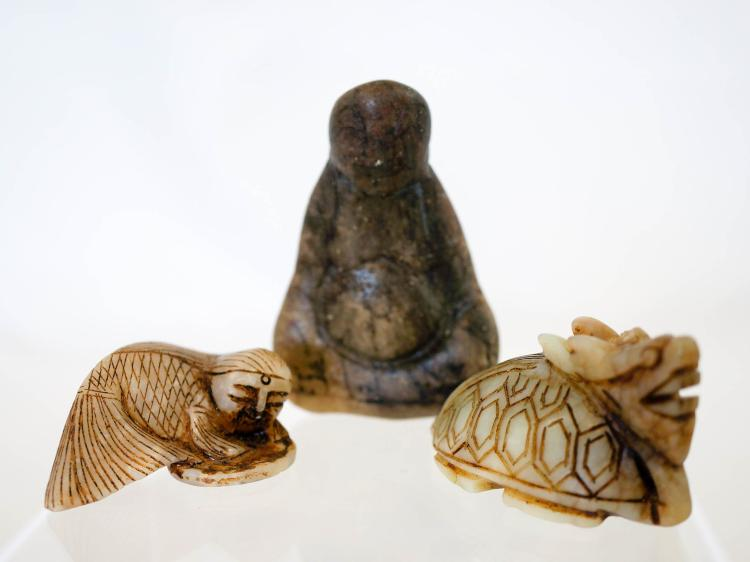 Three asian small jade and stone carvings