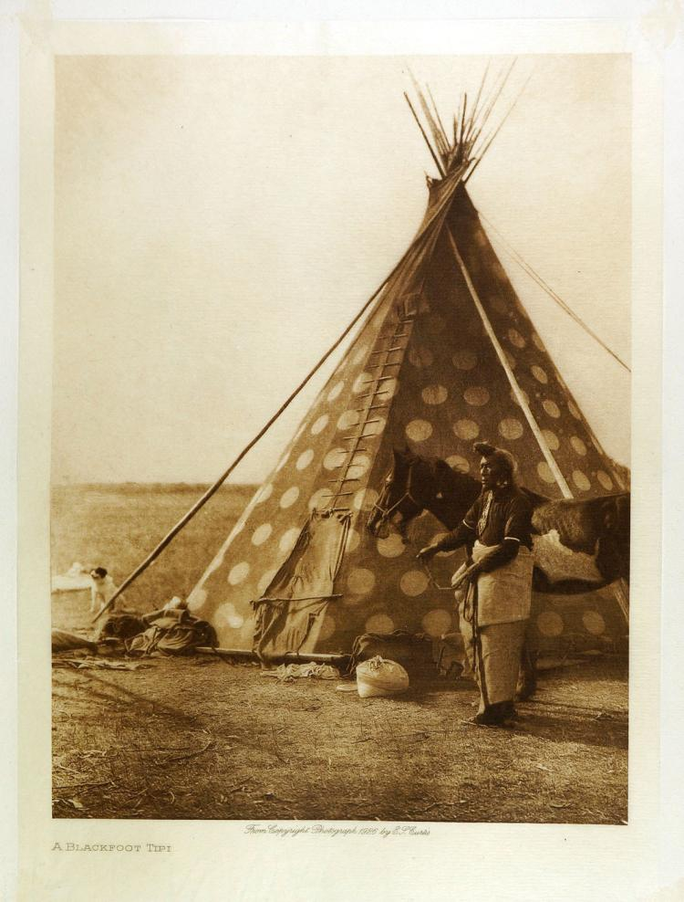 edward curtis tissue photogravure blackfoot tipi. Black Bedroom Furniture Sets. Home Design Ideas