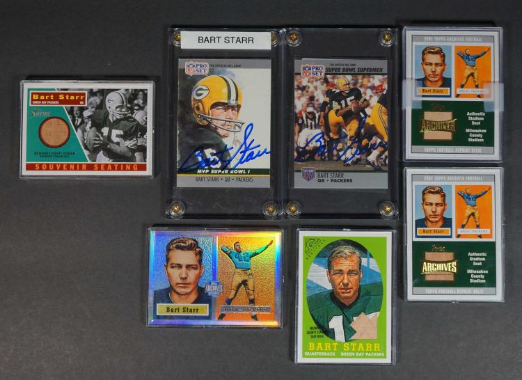 Bart Starr Autographed and Souvenir Football Cards