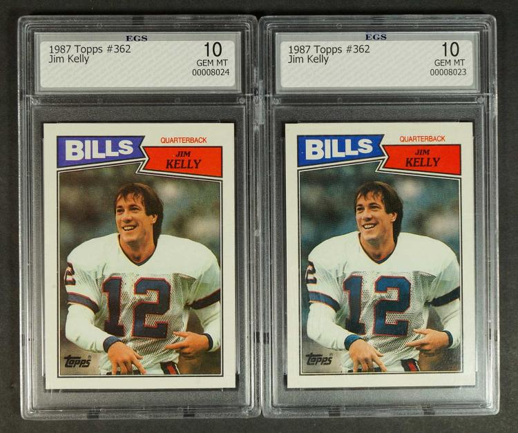 Jim Kelly 1987 Topps Rookie Cards (2) EGS 10