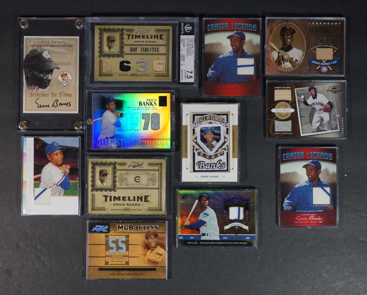 Ernie Banks Game-Used and Souvenir BB Cards