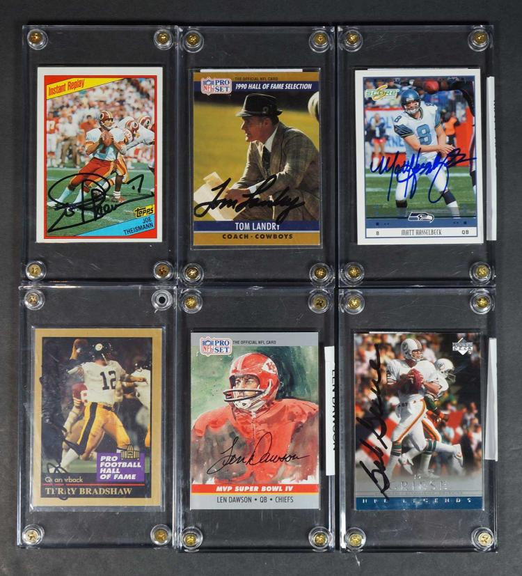 Collection (10) Autographed Football Cards HOF