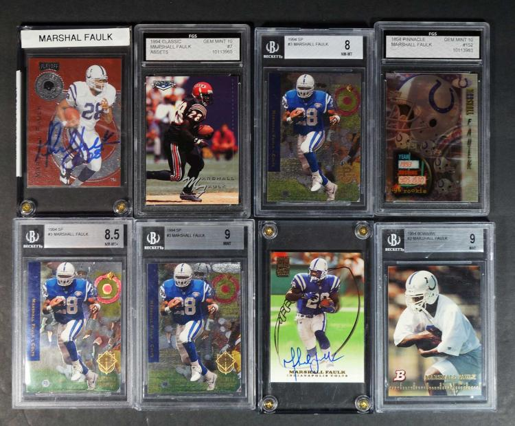 Marshall Faulk Graded and Autographed FB Cards