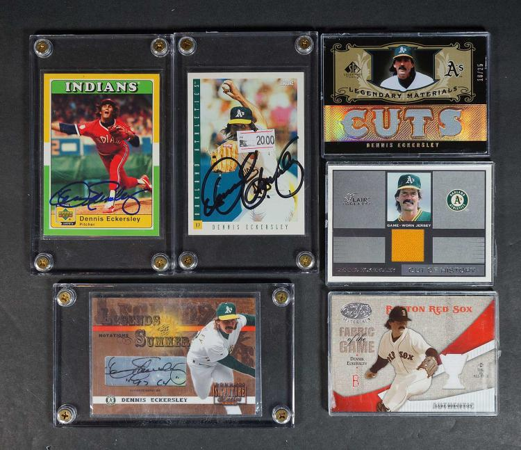 Dennis Eckersley Game-Used & Signed BB Cards (7)