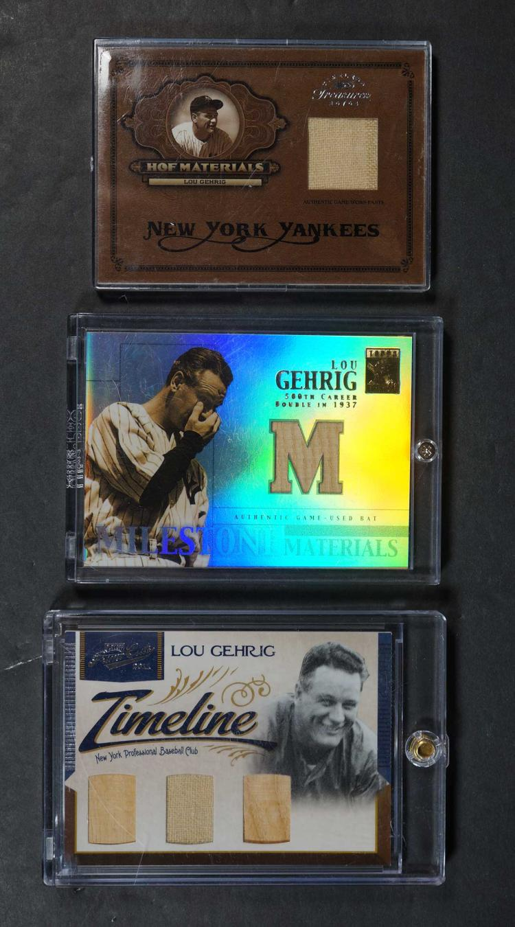 Lou Gehrig Game-Used Baseball Cards (3)